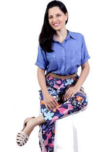 Camisa Nicole Celeste Petite Vickttoria Vick Plus Size Azul