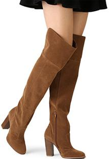 13a9e8af3a ... Bota Over The Knee Mixage Salto Grosso Feminina - Feminino-Caramelo
