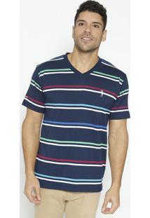 Camiseta Com Bordado- Azul Escuro & Verdealeatory