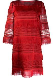 Alberta Ferretti Tassel Shift Dress - Vermelho