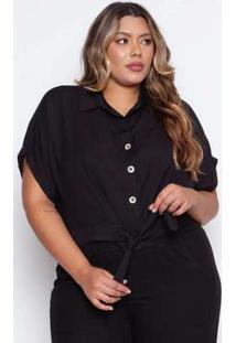 Camisa Almaria Plus Size Pianeta Cropped Preta Preto