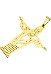 Pingente Cristo Redentor Tudo Joias Folheado A Ouro 18K - Feminino-Dourado