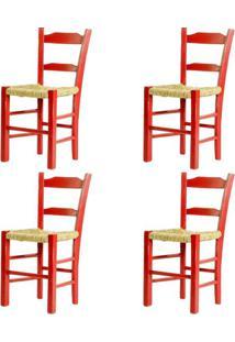 Kit 4 Cadeiras Lagiana Pequenas Eucalipto Vermelha Assento Palha - 59469 - Sun House