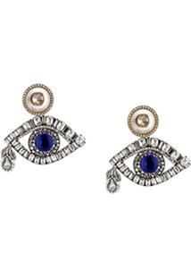 Gucci Par De Brincos De Olhos Com Cristais - Azul