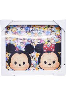 Porta Retrato Minas De Presentes Quebra Cabeça Mickey & Minnie Tsum Tsum 22X27Cm - Disney Branco