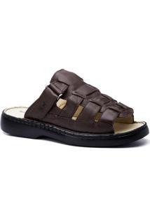 Sandália Masculina 323 Em Couro Floater Doctor Shoes - Masculino-Café