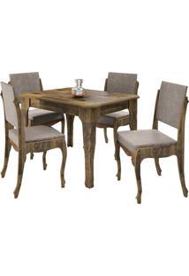 Conjunto De Mesa Onix Com 4 Cadeiras 1,2 Marrom/Bege - Bege - Dafiti