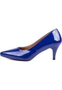 Scarpin Verniz Di Scarp Salto Baixo Básico Leve Feminino - Feminino-Azul