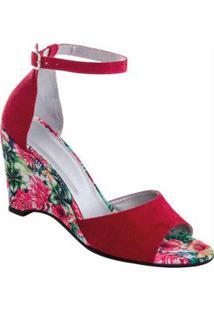 Sandália Anabela Vermelha Com Salto Estampado