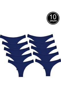 Kit Com 10 Calcinhas Conforto Part.B Fio Dental Azul - Kanui