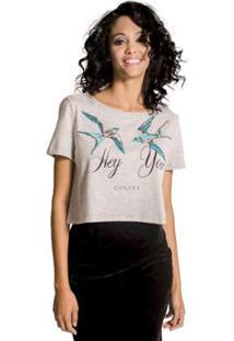 Camiseta Cropped Bordada Colcci - Feminino-Cinza