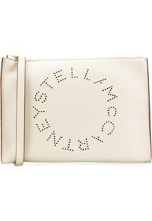 Stella Mccartney Clutch Com Logo Perfurado - Branco