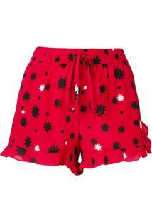 Redvalentino Star Print Shorts - Vermelho
