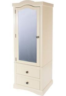 Armário Com Espelho - Cor Off White - Qb395