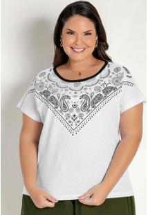 Blusa Branca Com Estampa No Decote Plus Size