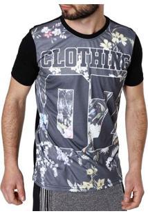 Camiseta Manga Curta Masculina Preto/Cinza