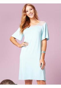Vestido Clássico Azul Com Recorte Em Tule