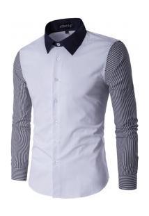Camisa Masculina Slim Com Manga Longa Listrada - Branco