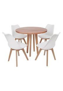 Conjunto Mesa De Jantar Em Madeira 90Cm Com Base Vértice + 4 Cadeiras Leda - Branco