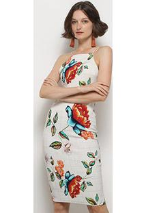 Vestido Lez Lez Tubinho Midi Floral Costas Transpassadas - Feminino
