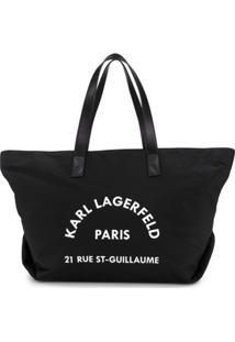 Karl Lagerfeld Bolsa Tote Rue St Guillaume Grande - Preto