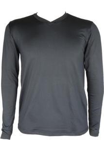 Camisa Térmica Masculina Segunda Pele V Thermo Premium - Masculino-Preto