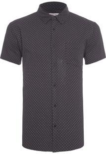Camisa Masculina Wrinkled Flower Dots - Preto