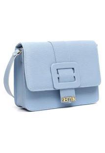 Bolsa Tiracolo Feminina Lateral Com Fivela Croco Lançamento Azul
