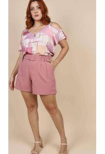Blusa Estampada Almaria Plus Size Peri Roxo