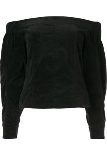 Christian Dada Off The Shoulder Corduroy Blouse - Preto