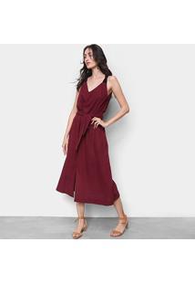 Vestido Cantão Midi Linho Com Amarração - Feminino-Vinho