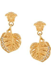 Versace Medusa Leaf Earrings - Dourado