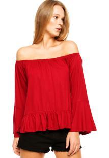 Blusa Ciganinha Fiveblu Babado Vermelha