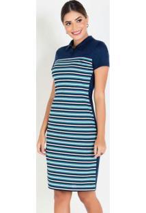 Vestido Polo Azul Moda Evangélica