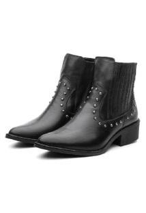 Bota Ankle Boot Couro Venetto Country Preta
