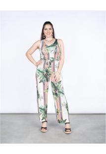 Macacão Rovitex Pantalona Feminino - Feminino-Off White