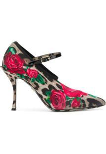 Dolce & Gabbana Sapato Mary Jane Com Animal Print - Marrom