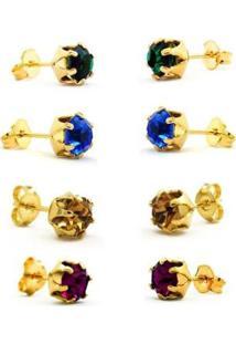 Kit Horus Import 4 Brincos Ponto De Luz - Banhado Em 18 K - Kit10568 Horus Import Feminino - Feminino-Dourado