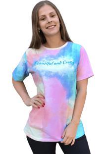 Camiseta Tie Dye Olimpo Estampada Manga Curta Colorida - Estampado/Multicolorido/Rosa - Feminino - Algodã£O - Dafiti