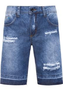 Bermuda Masculina Jeans Rasgos - Azul