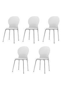 Kit 5 Cadeiras Luna Assento Branco Base Cromada - 57697 Branco