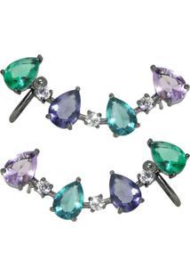 Brinco Infine Ear Cuff Com Piercing Multicolorido - Tricae