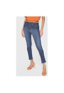 Calça Cropped Jeans Lança Perfume Skinny Estonada Azul-Marinho