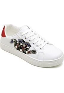 Kit Tênis Top Franca Shoes Cobra + Chinelo Top Franca Shoes Feminino - Feminino-Branco+Lilás