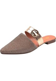 Mule Uzze Sapatos Sapatilha Glitter Dourado - Dourado - Feminino - Dafiti
