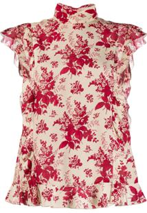 Red Valentino Blusa Redvalentino Floral Com Babados - Vermelho