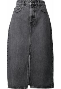 Nobody Denim Saia Jeans Stranded Cintura Alta - Cinza