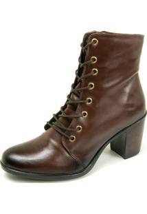 Bota Ankle Boot Dhatz Possui Cadarço Salto Médio Café