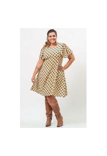 Vestido Curto Almaria Plus Size Garage Poá Amarelo