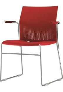 Cadeira Connect Com Braco Assento Vermelho Base Fixa Cromada - 53792 Sun House